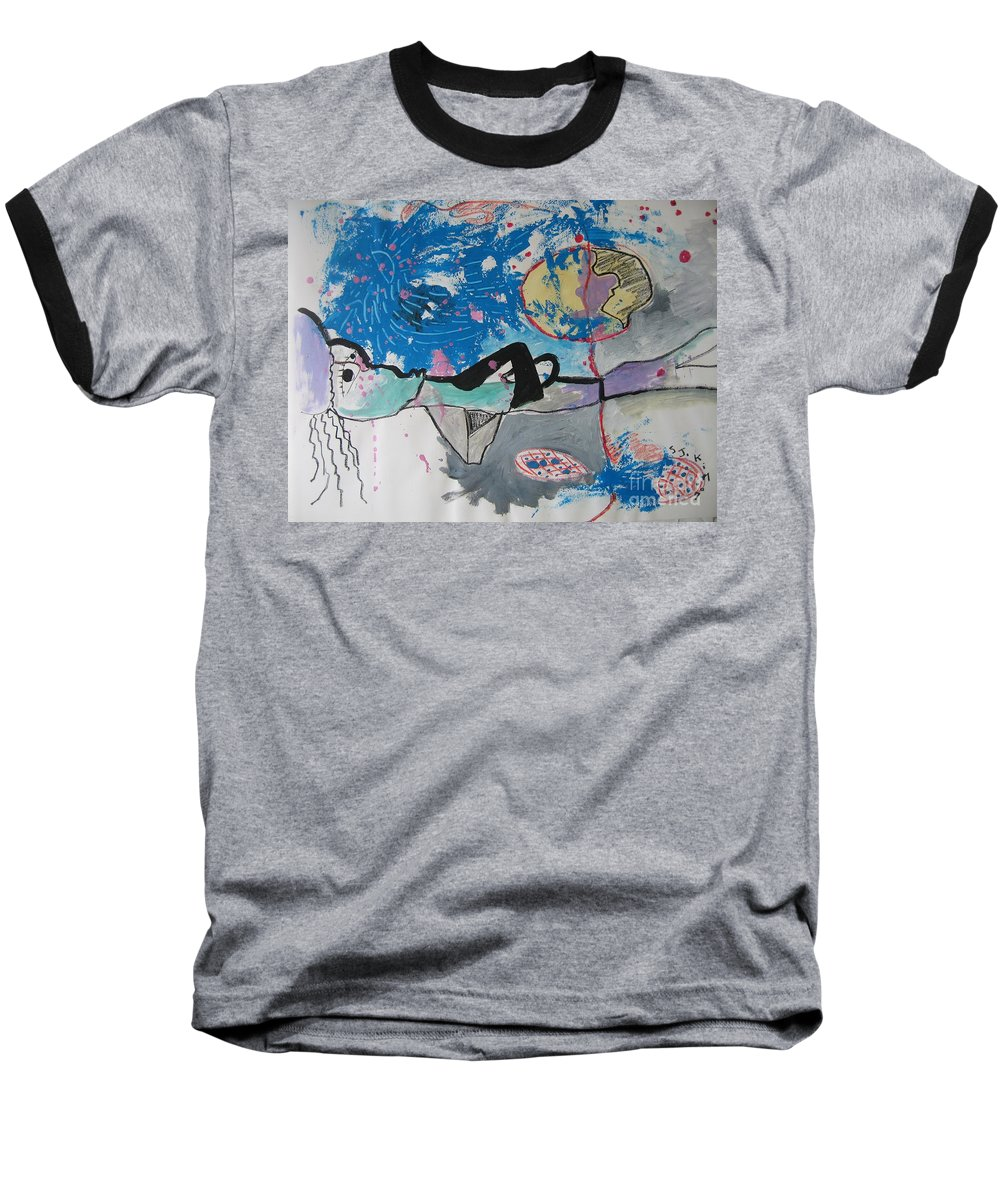 Abstract Paintings Baseball T-Shirt featuring the painting Read My Mind2 by Seon-Jeong Kim