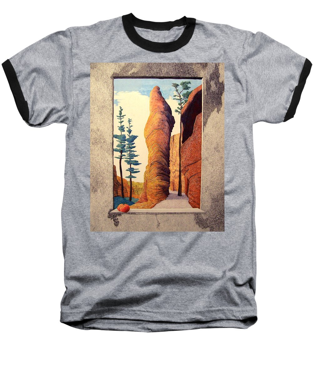Landscape Baseball T-Shirt featuring the painting Reared Window by A Robert Malcom