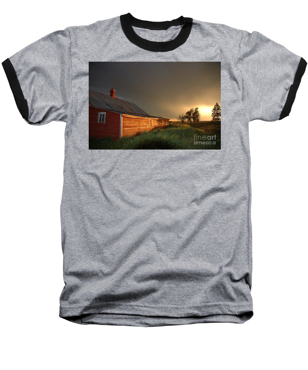 Barn Baseball T-Shirt featuring the photograph Red Barn At Sundown by Jerry McElroy
