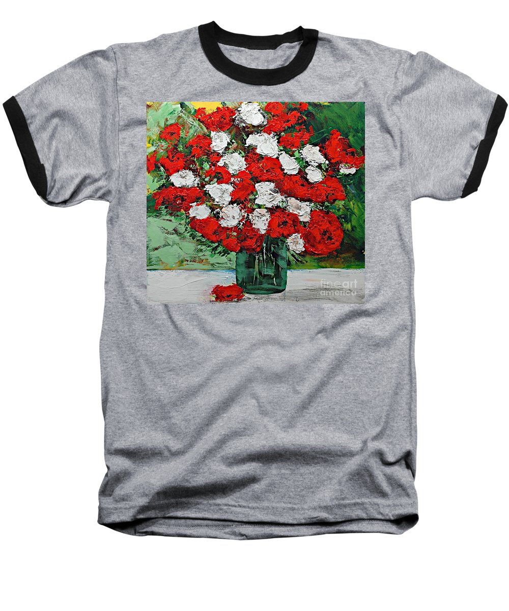 Landscape Baseball T-Shirt featuring the painting Red Explosion by Allan P Friedlander