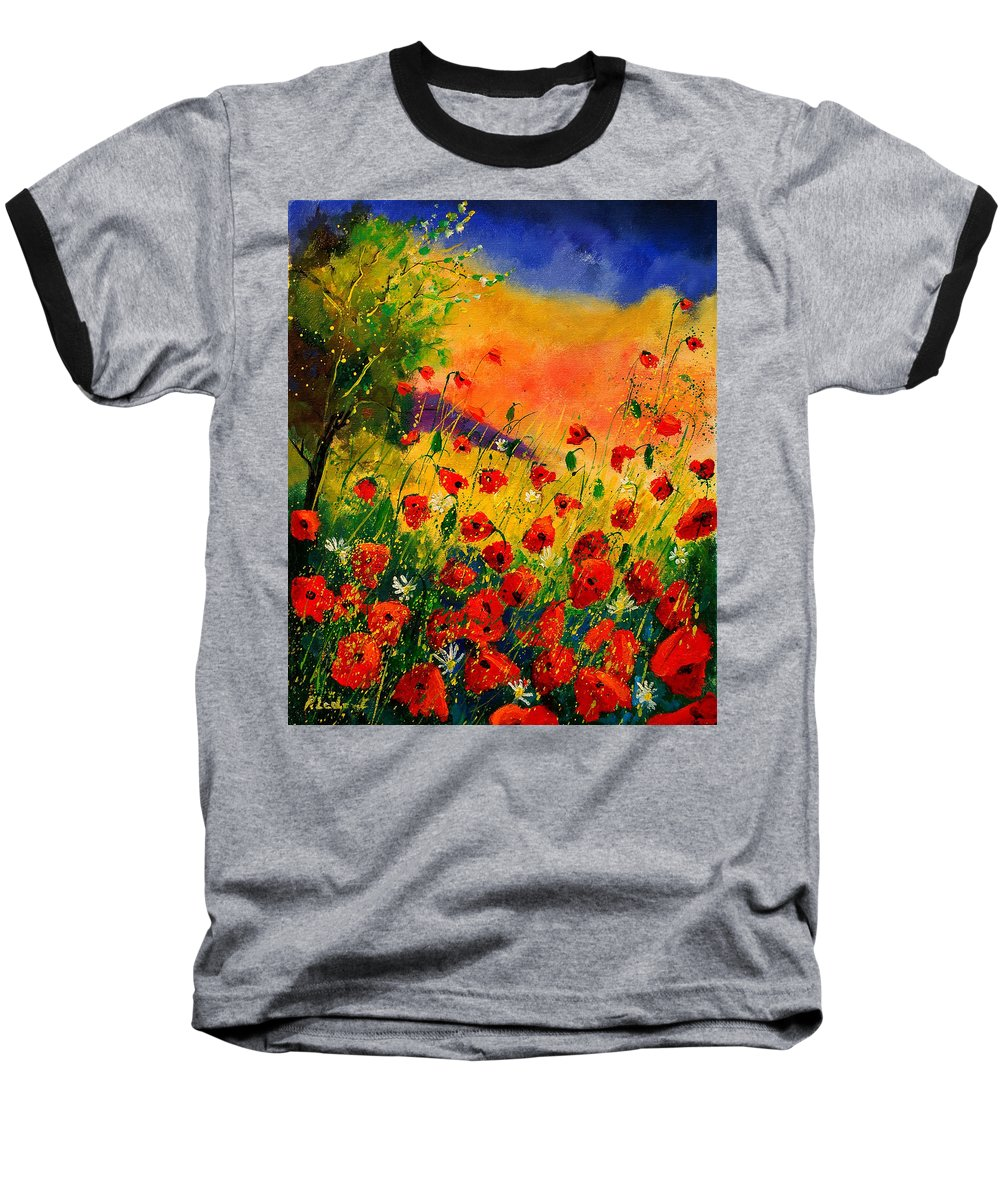 Poppies Baseball T-Shirt featuring the painting Red Poppies 45 by Pol Ledent