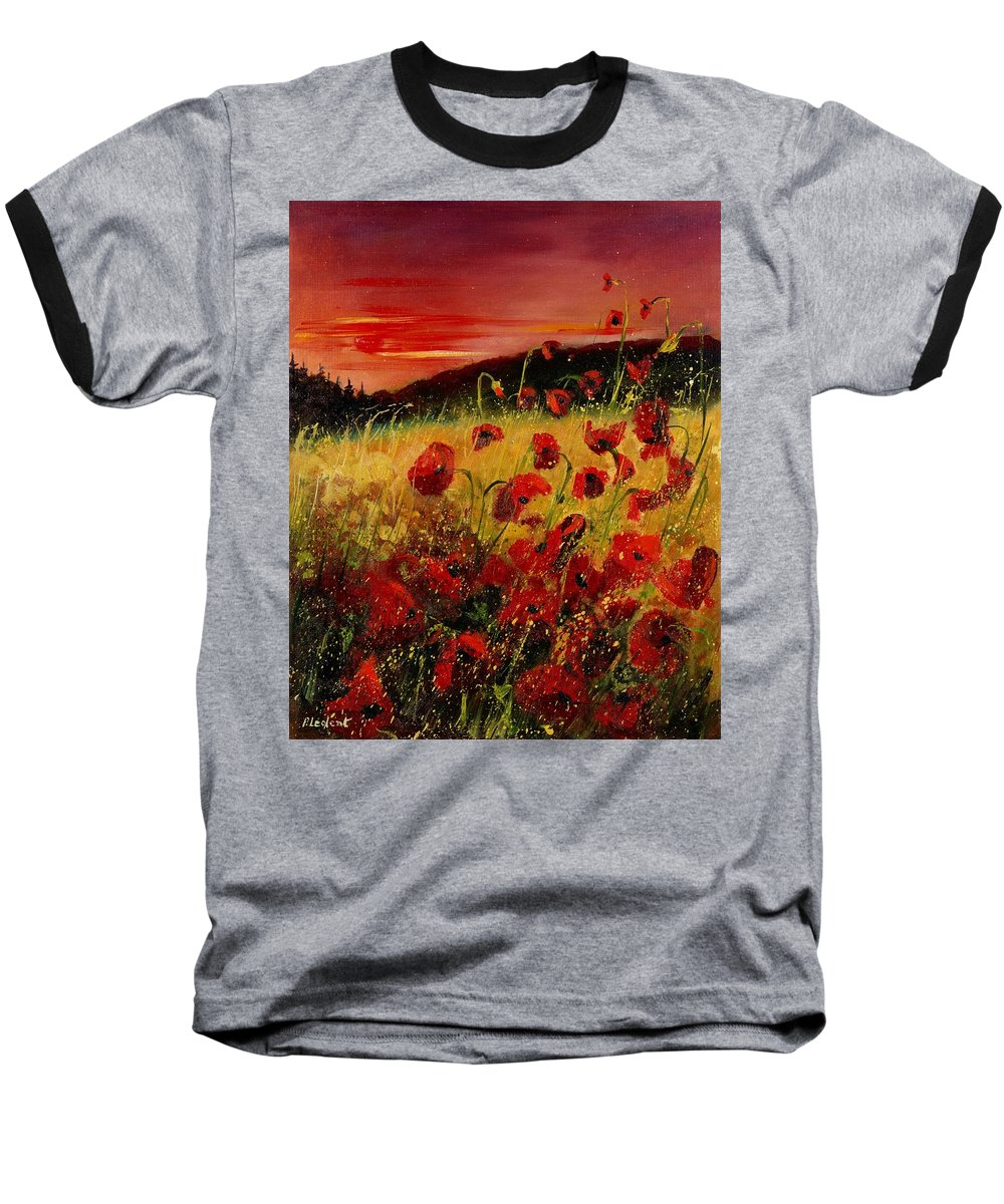 Poppies Baseball T-Shirt featuring the painting Red Poppies And Sunset by Pol Ledent