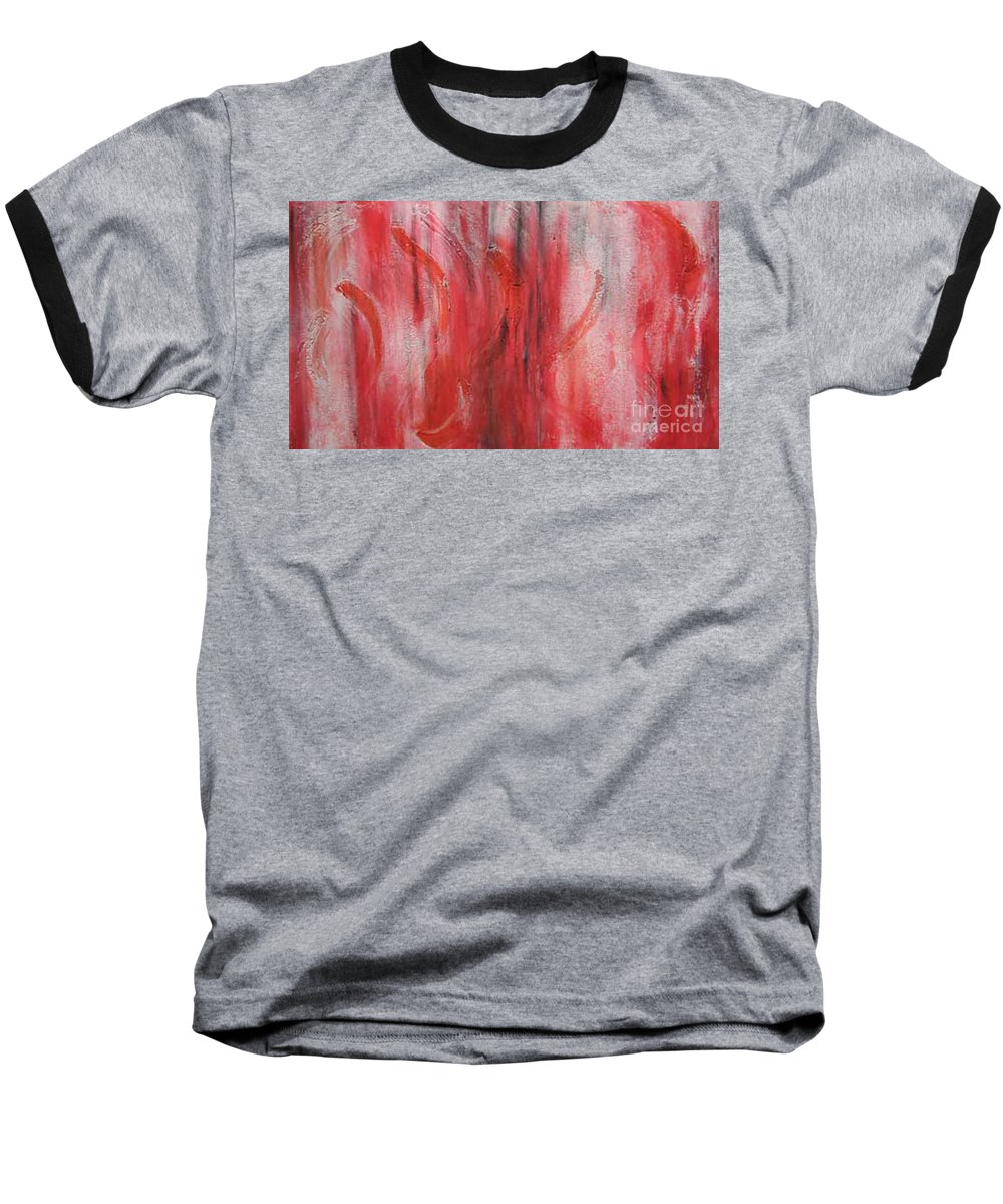 Modern Art Baseball T-Shirt featuring the painting Red Sea by Silvana Abel