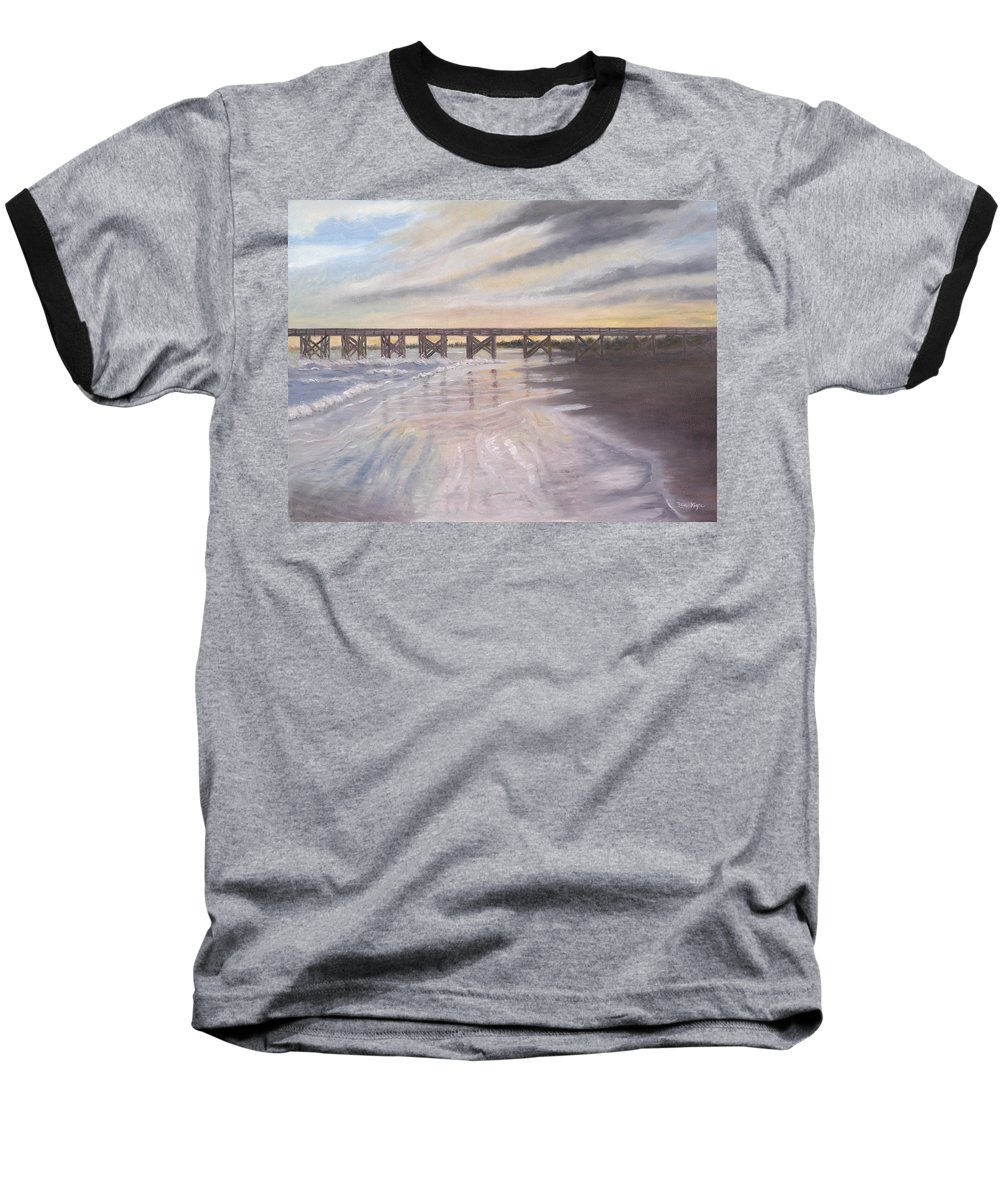 Beach; Pier; Low Country Baseball T-Shirt featuring the painting Reflections by Ben Kiger