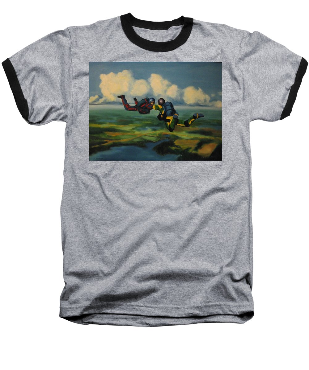 Skydivers Baseball T-Shirt featuring the painting Relative Work by John Malone