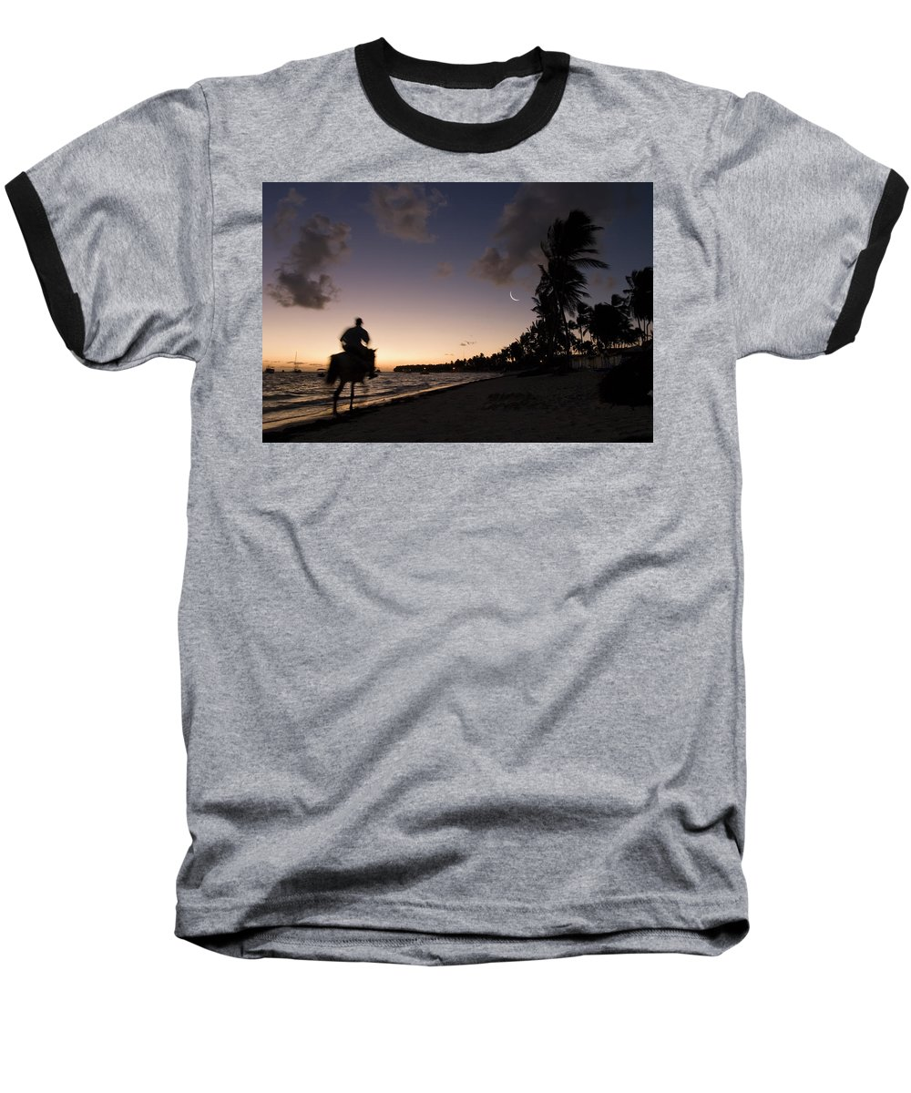3scape Baseball T-Shirt featuring the photograph Riding On The Beach by Adam Romanowicz