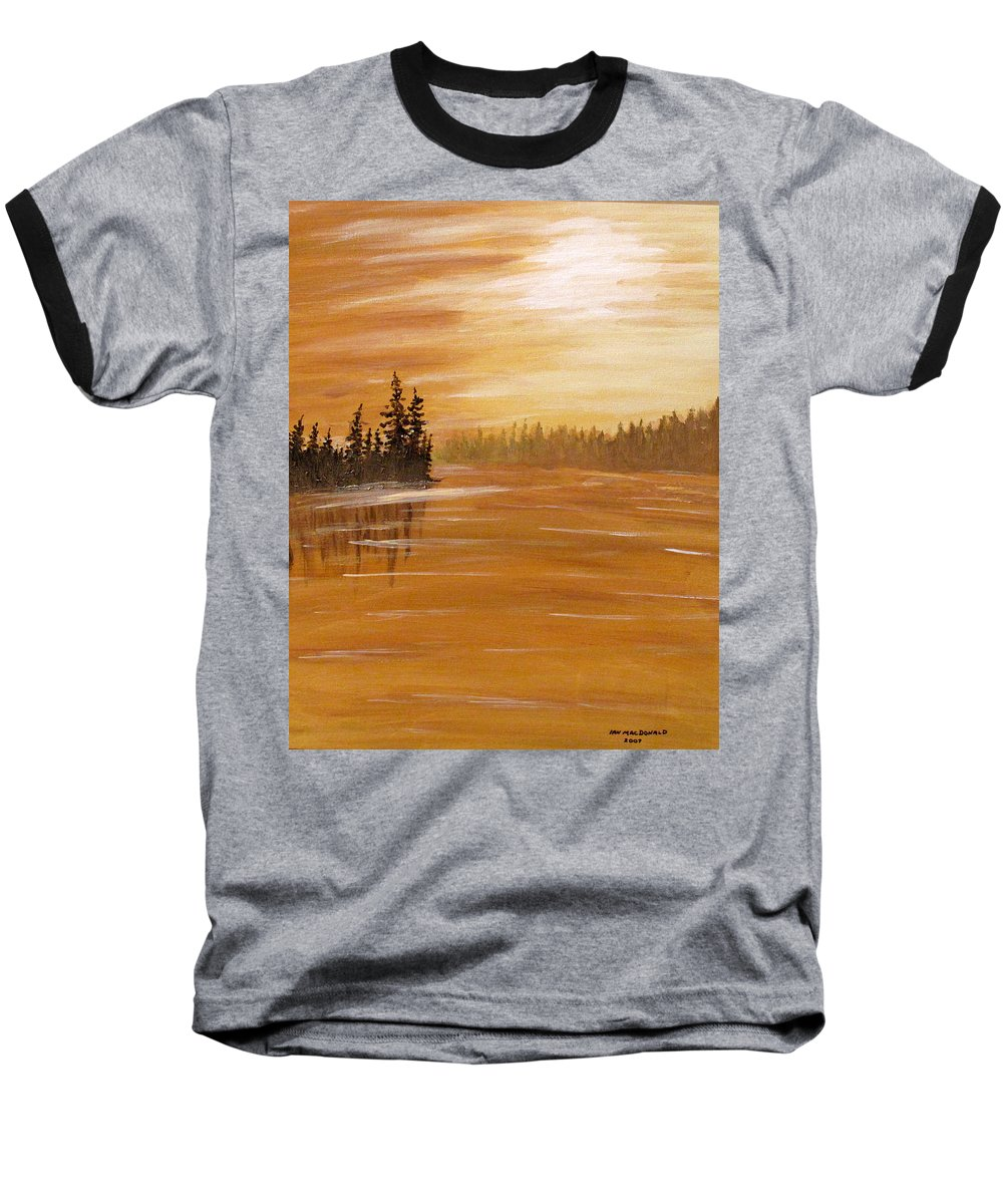 Northern Ontario Baseball T-Shirt featuring the painting Rock Lake Morning 1 by Ian MacDonald