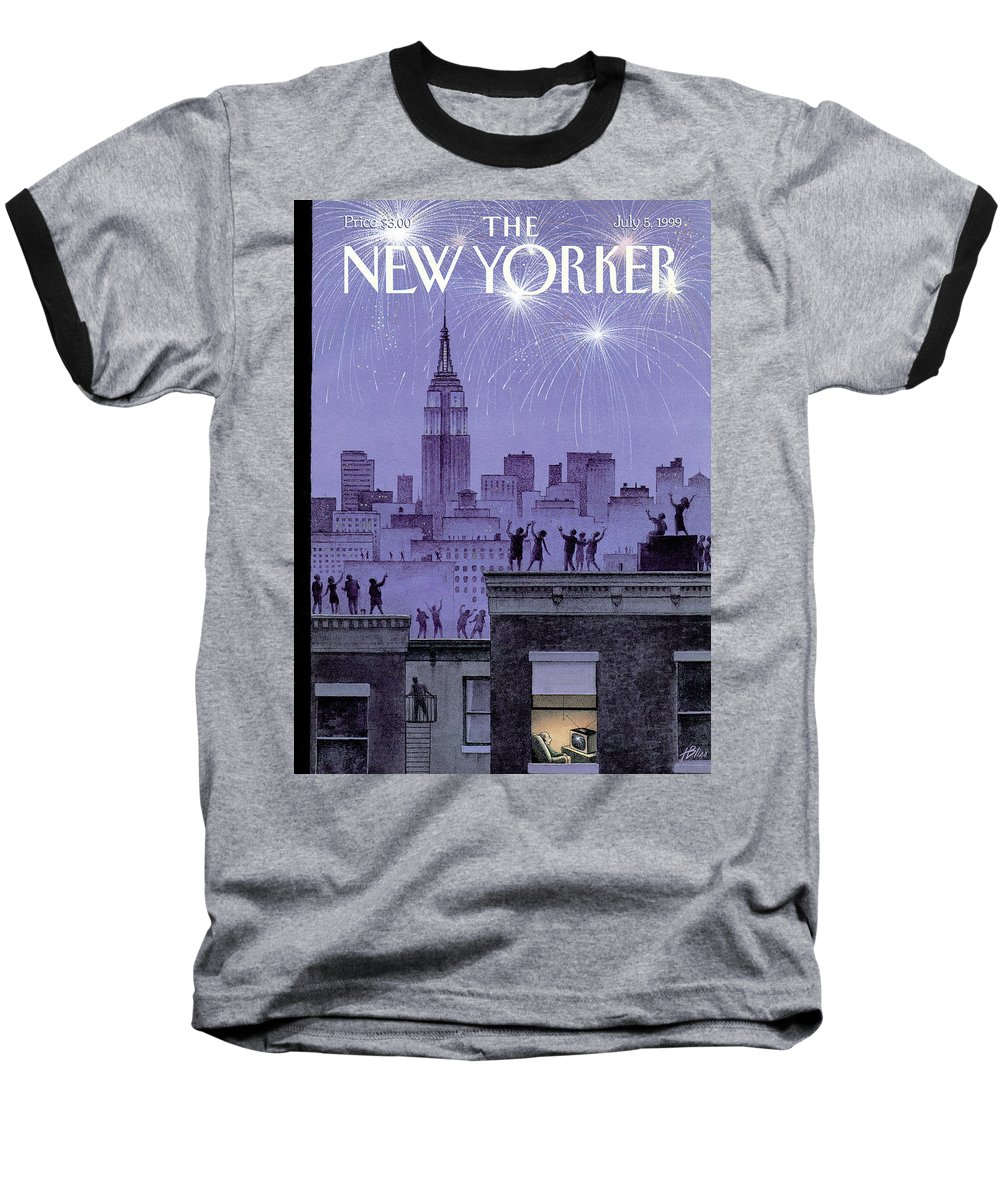 Harry Bliss Hbl Baseball T-Shirt featuring the painting Rooftop Revelers Celebrate New Year's Eve by Harry Bliss