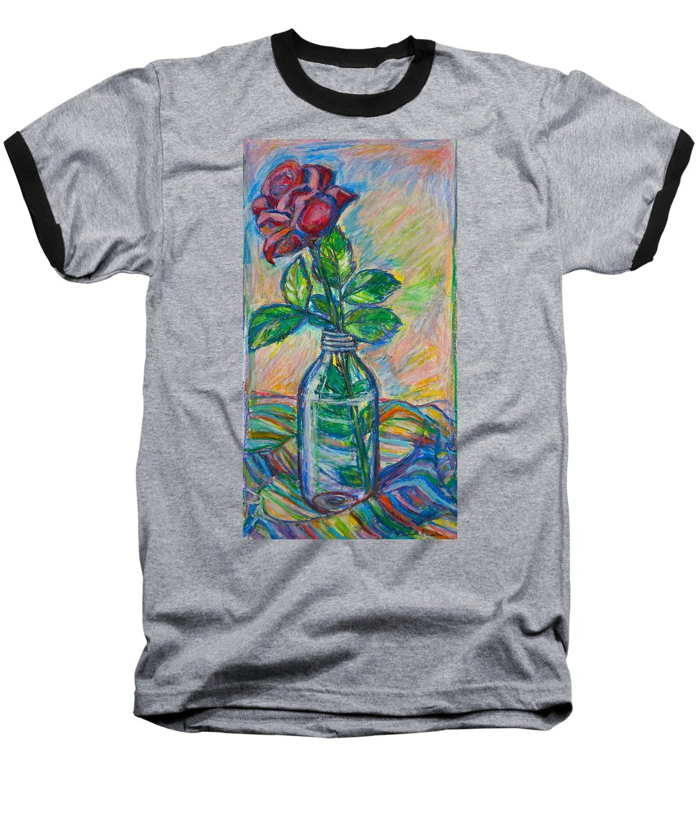 Still Life Baseball T-Shirt featuring the painting Rose In A Bottle by Kendall Kessler
