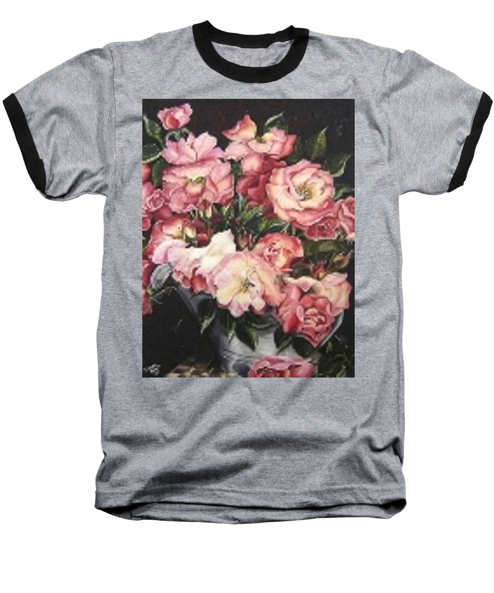 Pink Roses Floral Flowers Baseball T-Shirt featuring the painting Roses In A Watercan by Karin Dawn Kelshall- Best