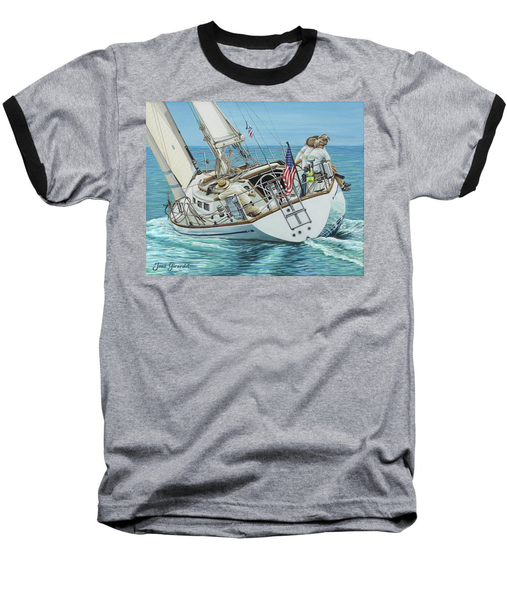 Ocean Baseball T-Shirt featuring the painting Sailing Away by Jane Girardot