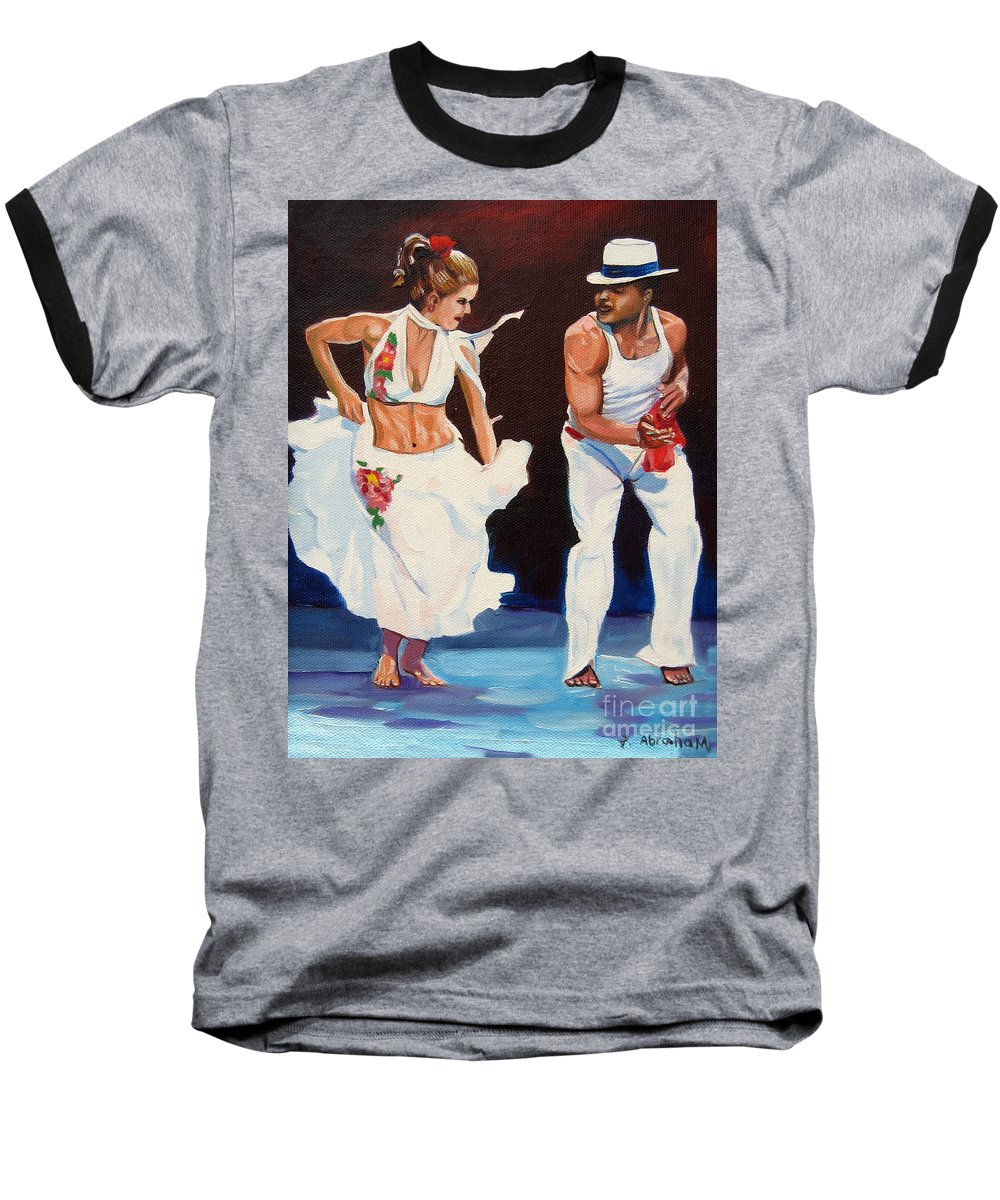 Dancing Baseball T-Shirt featuring the painting Salsa by Jose Manuel Abraham