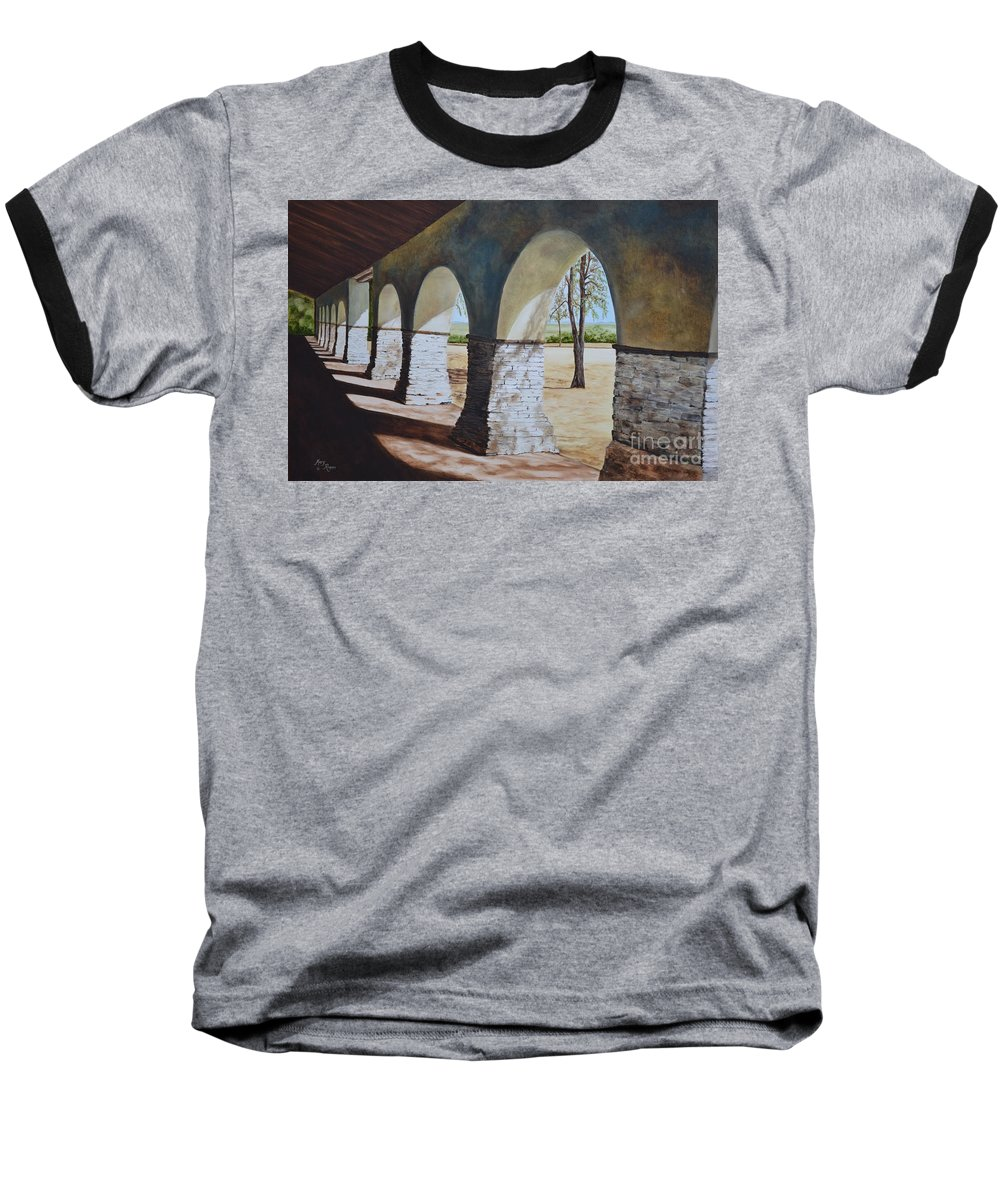 California Landmark Baseball T-Shirt featuring the painting San Juan Bautista Mission by Mary Rogers