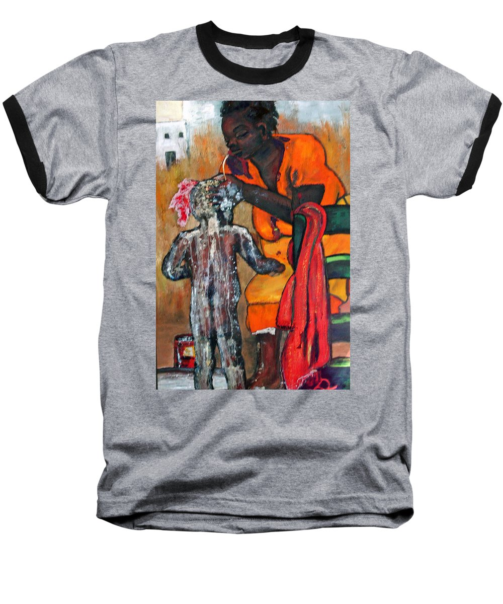 Mom Bathing Boy Baseball T-Shirt featuring the painting Saturday Night Bath by Peggy Blood