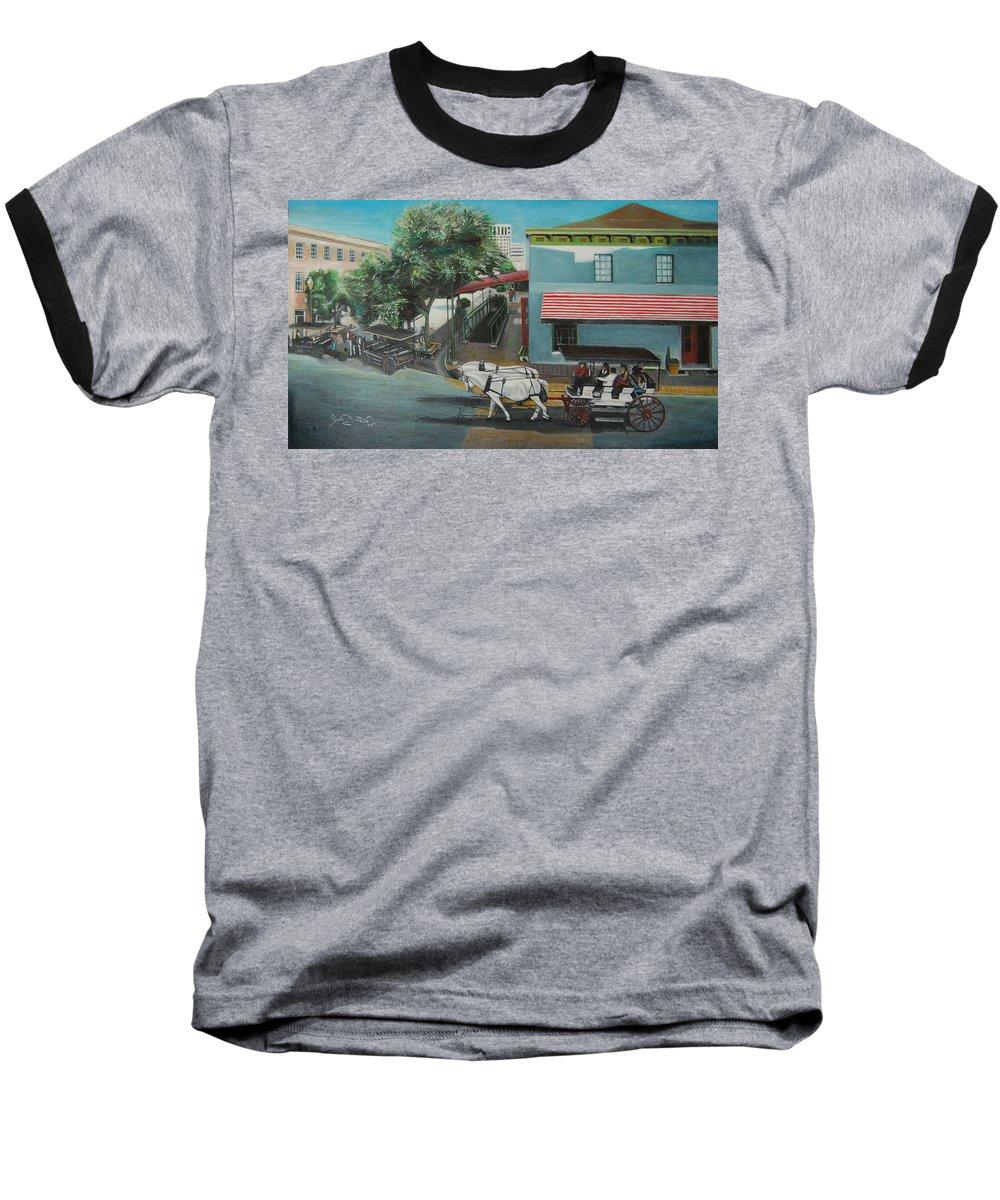 Baseball T-Shirt featuring the painting Savannah City Market by Jude Darrien
