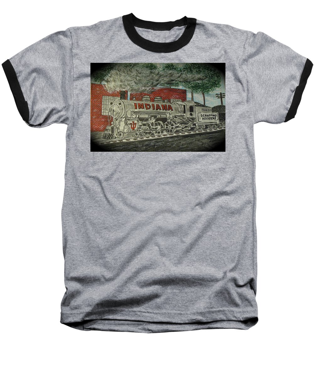Scrapping Hoosiers Baseball T-Shirt featuring the painting Scrapping Hoosiers Indiana Monon Train by Kathy Marrs Chandler