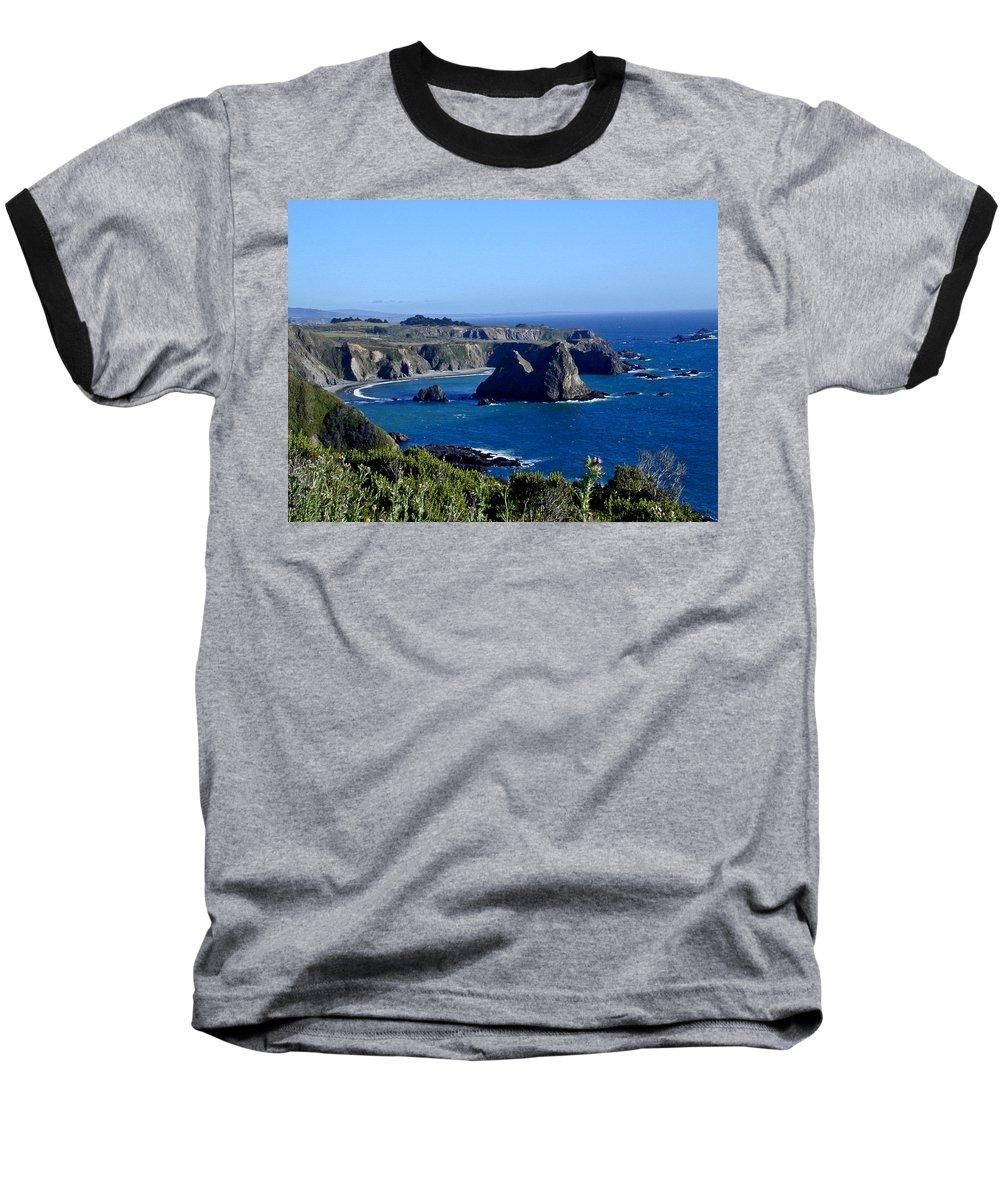 Sea Baseball T-Shirt featuring the photograph Sea Coast Of Northern California by Douglas Barnett