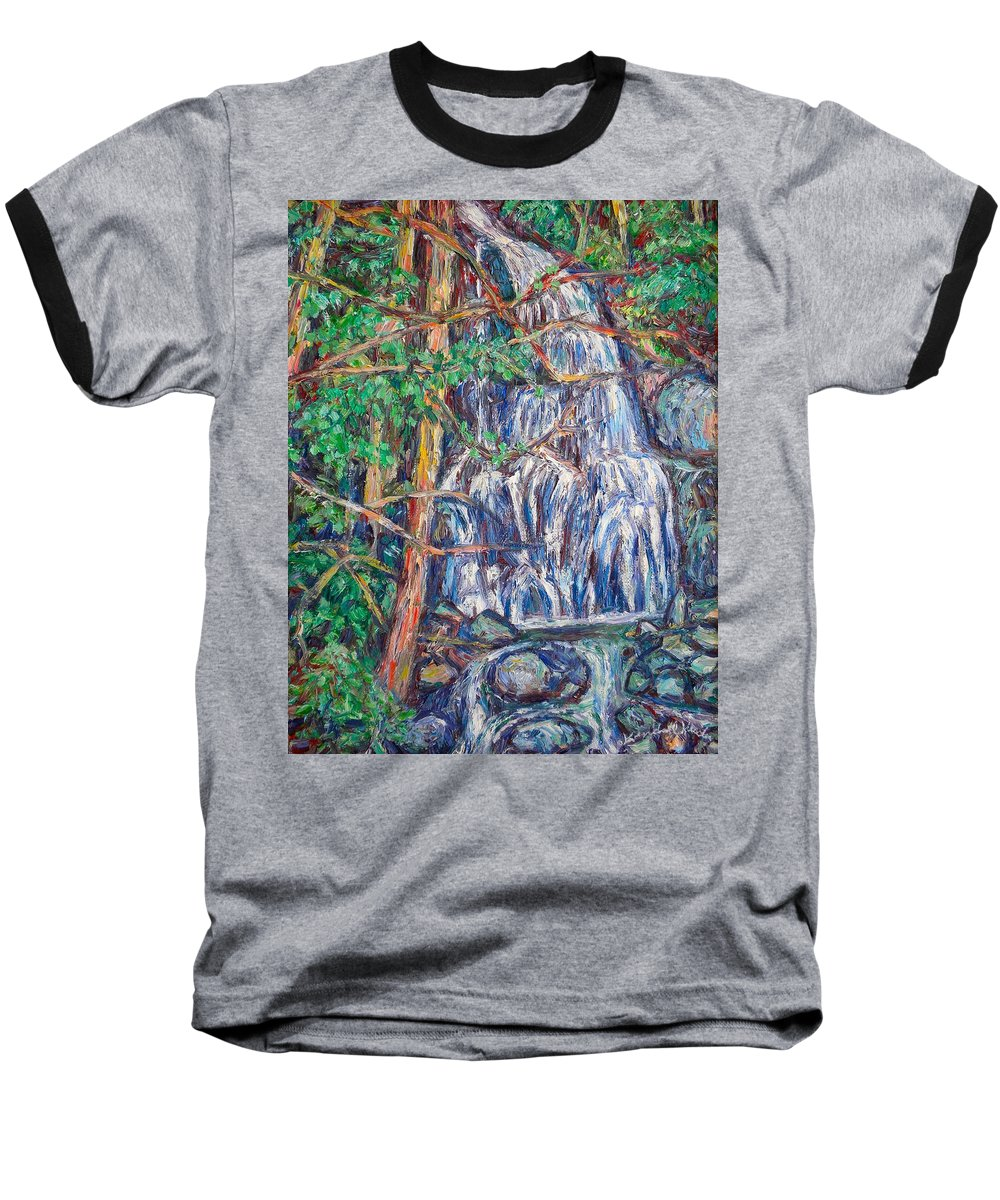 Waterfall Baseball T-Shirt featuring the painting Secluded Waterfall by Kendall Kessler