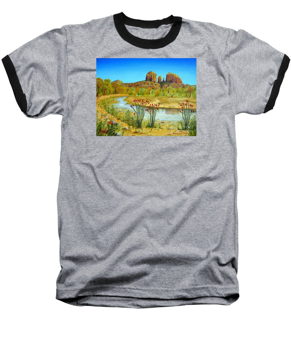 Sedona Baseball T-Shirt featuring the painting Sedona Arizona by Jerome Stumphauzer
