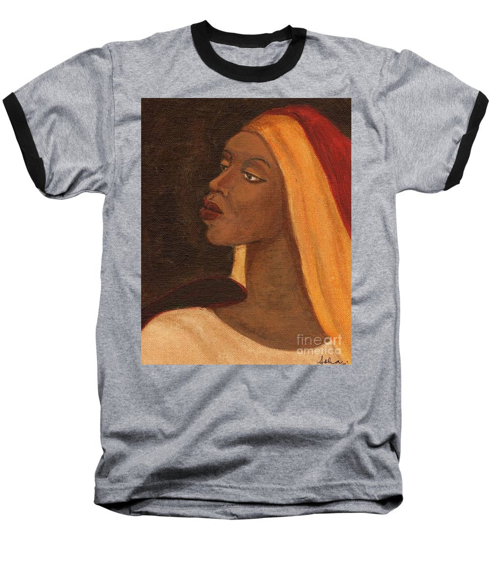 An African Woman Baseball T-Shirt featuring the painting Semi-abstract- Woman by Asha Sudhaker Shenoy