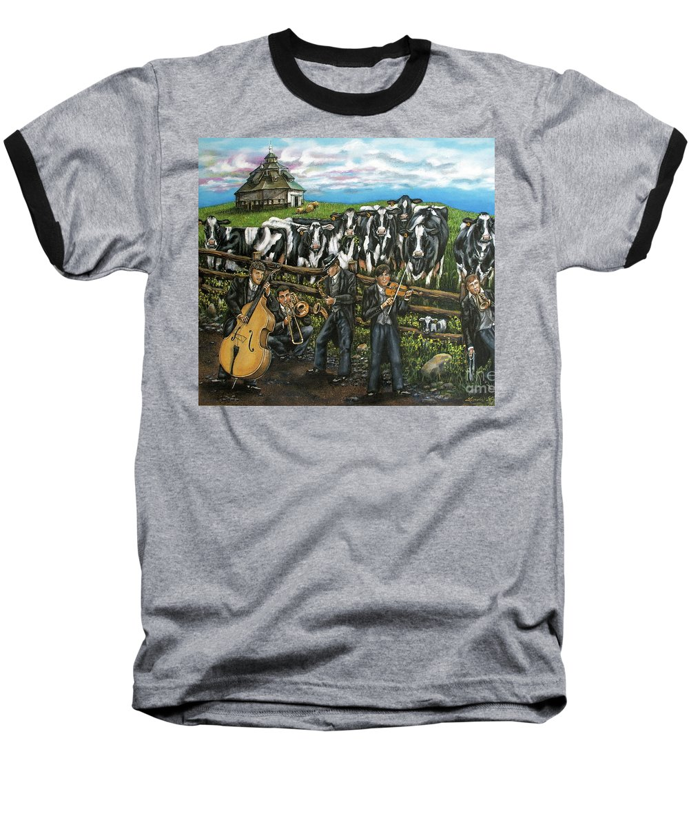 Linda Simon Baseball T-Shirt featuring the painting Semi-formal by Linda Simon