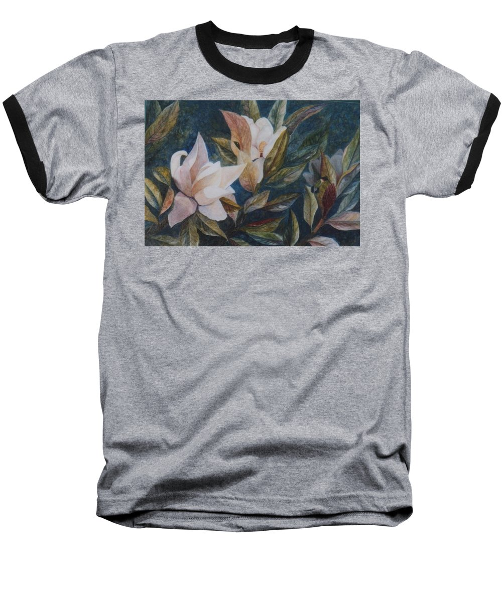 Magnolias; Humming Bird Baseball T-Shirt featuring the painting Serenity by Ben Kiger