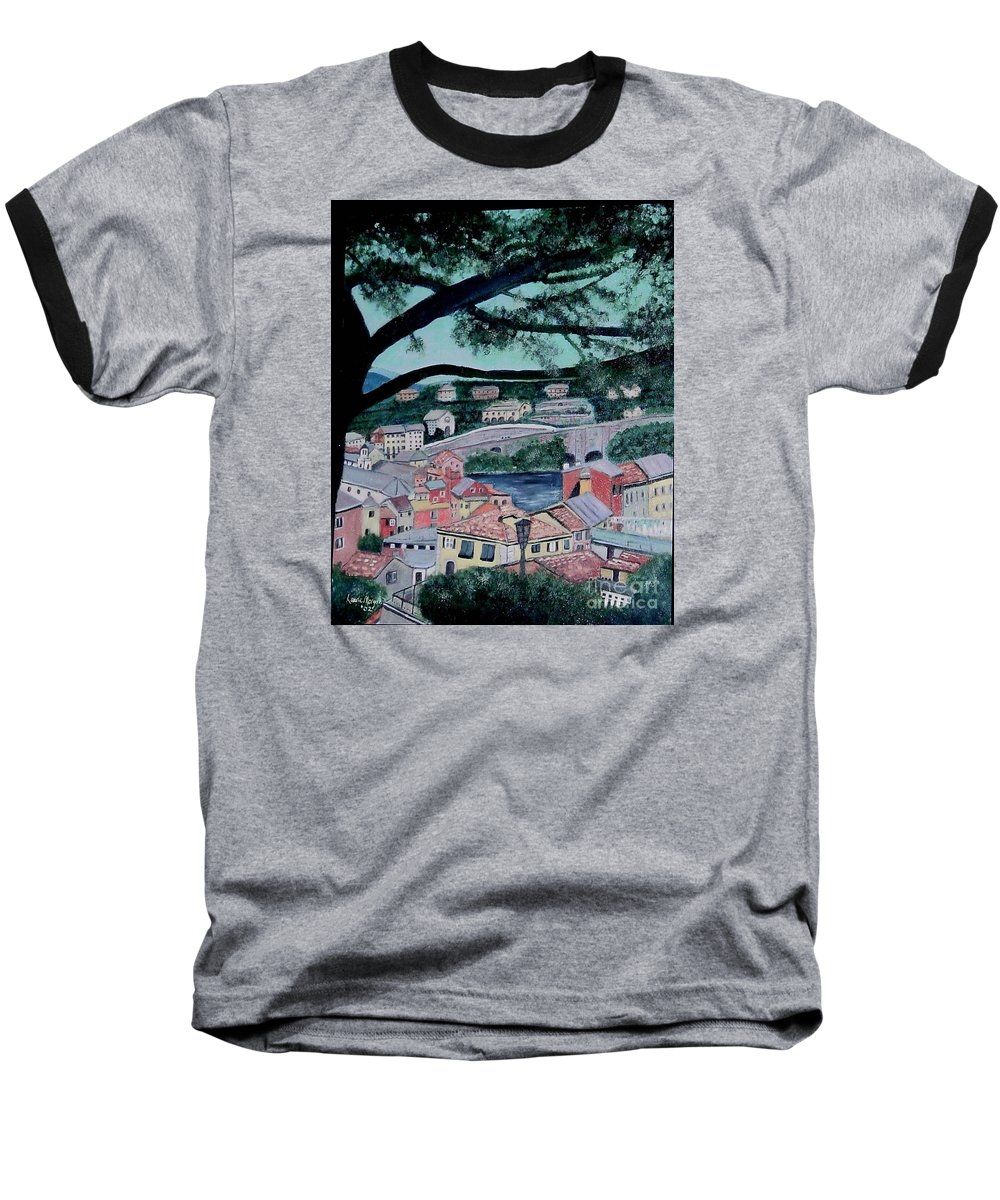 Italy Baseball T-Shirt featuring the painting Sestri Levante by Laurie Morgan