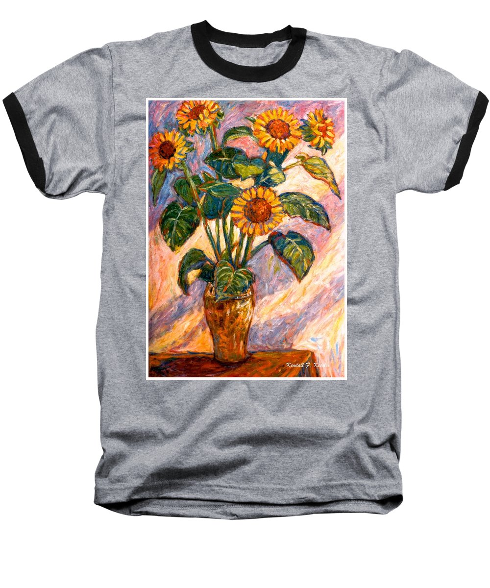 Floral Baseball T-Shirt featuring the painting Shadows On Sunflowers by Kendall Kessler