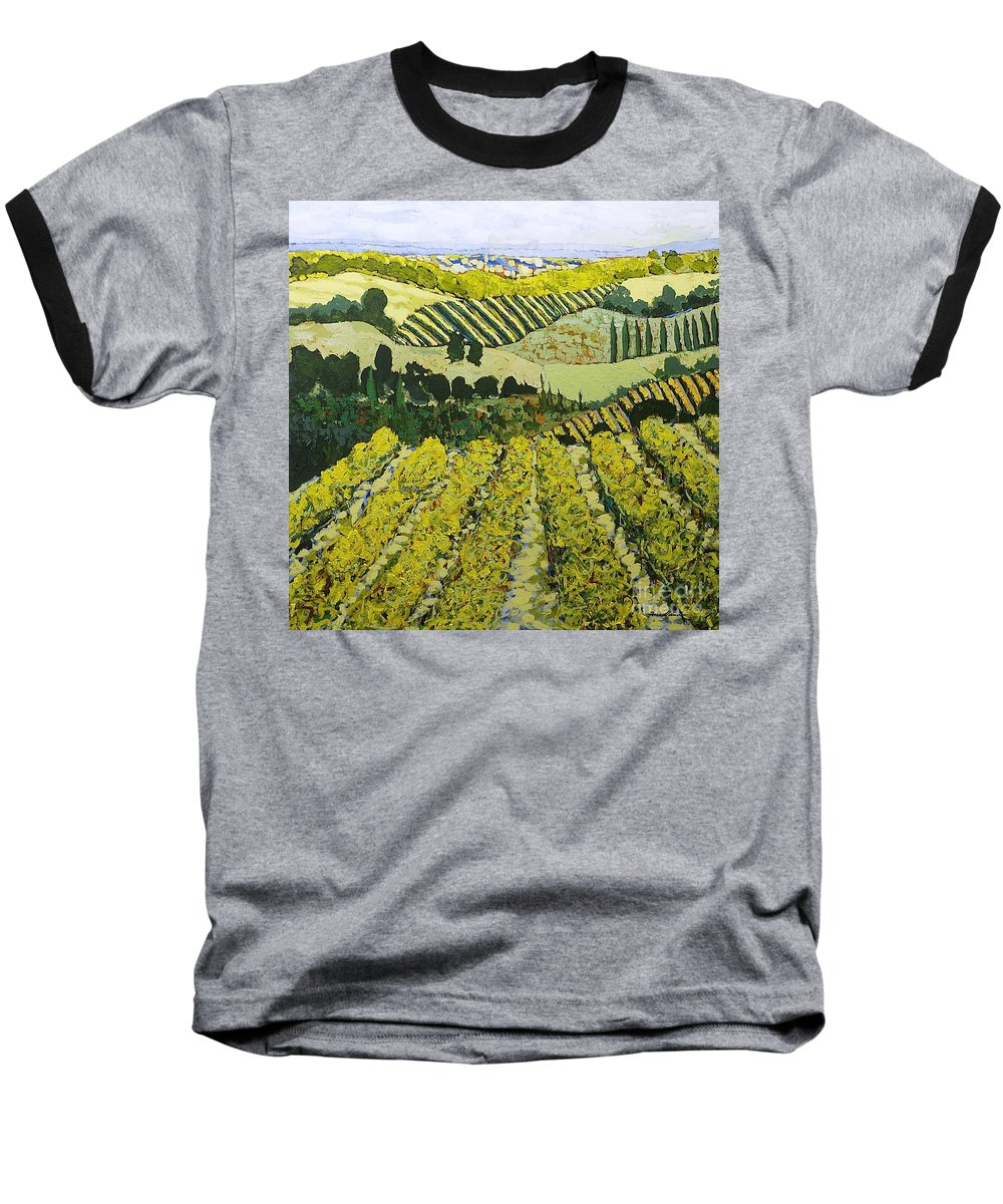 Landscape Baseball T-Shirt featuring the painting Sharing The Discovery by Allan P Friedlander