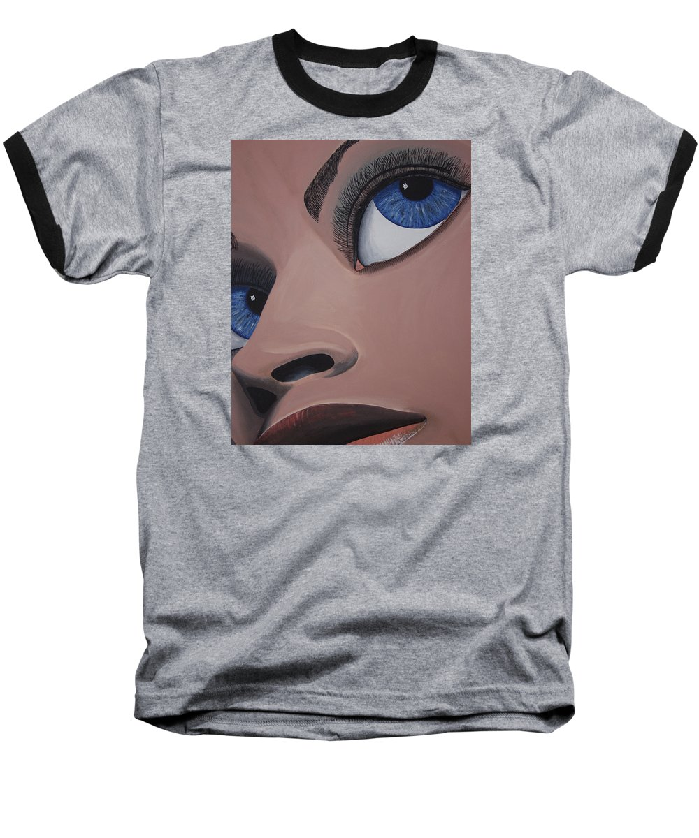 Eye Catching Baseball T-Shirt featuring the painting SHE by Dean Stephens