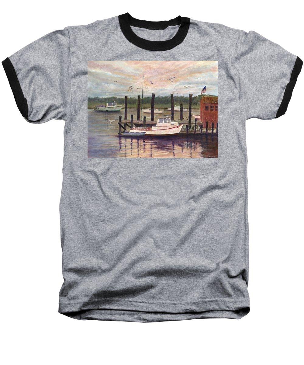 Charleston; Boats; Fishing Dock; Water Baseball T-Shirt featuring the painting Shem Creek by Ben Kiger