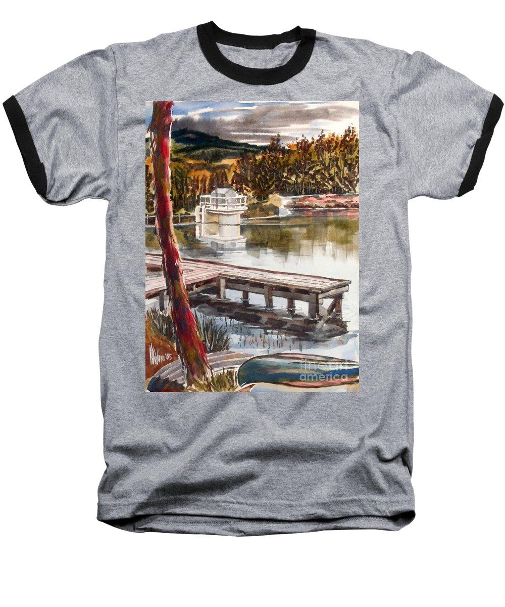 Shepherd Mountain Lake In Twilight Baseball T-Shirt featuring the painting Shepherd Mountain Lake In Twilight by Kip DeVore