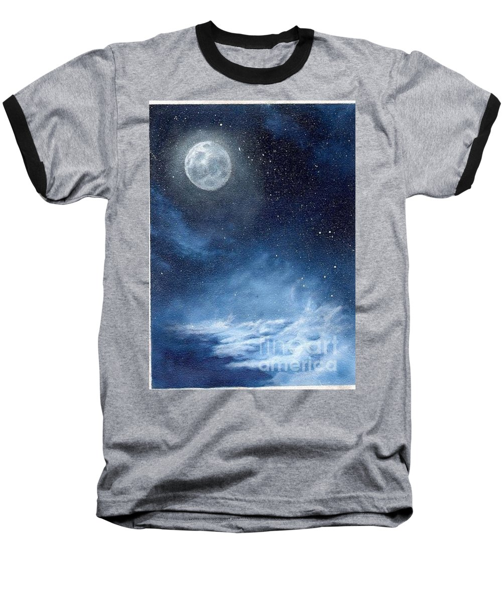 Cosmos Baseball T-Shirt featuring the painting Shimmer by Murphy Elliott
