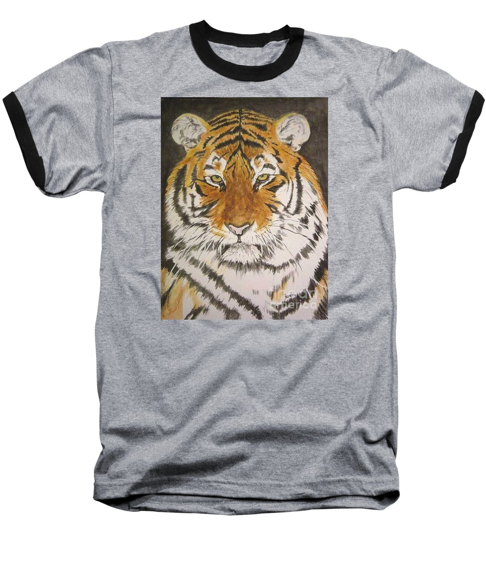 Siberian Tiger Baseball T-Shirt featuring the painting Siberian Tiger by Regan J Smith