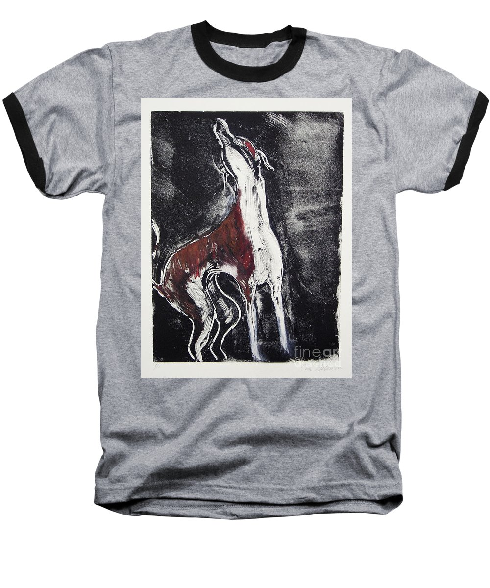 Framed Baseball T-Shirt featuring the mixed media Singing For Joy by Cori Solomon
