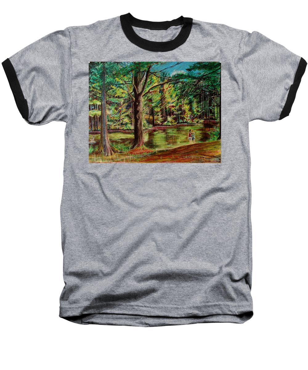 New Hampshire Baseball T-Shirt featuring the pastel Sisters At Wason Pond by Sean Connolly