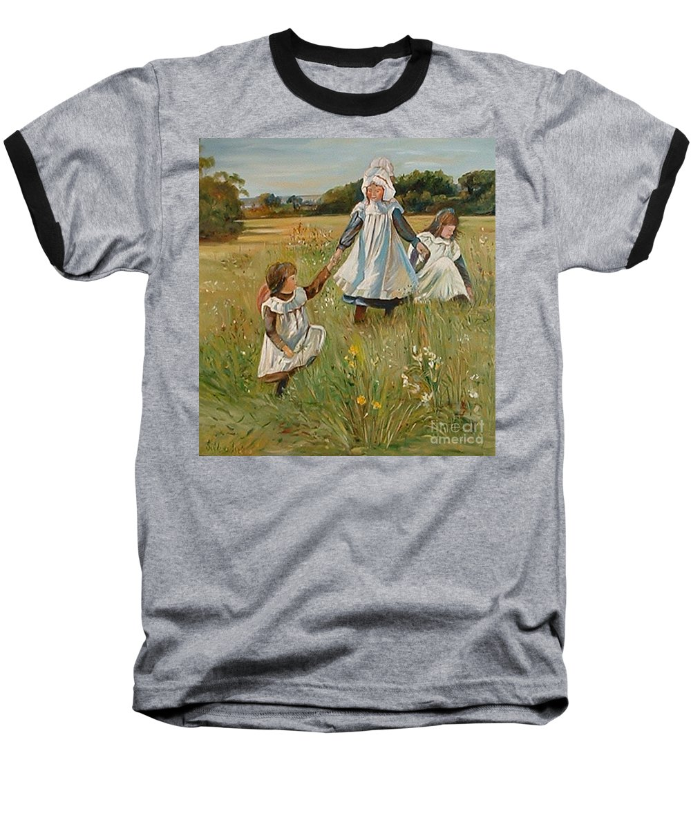 Classic Art Baseball T-Shirt featuring the painting Sisters by Silvana Abel