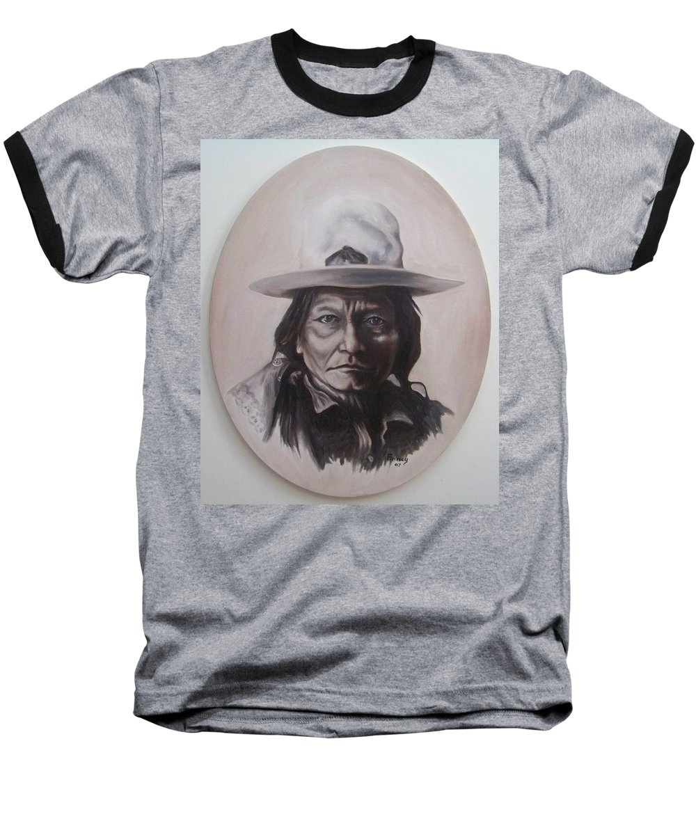 Michael Baseball T-Shirt featuring the painting Sitting Bull by Michael TMAD Finney