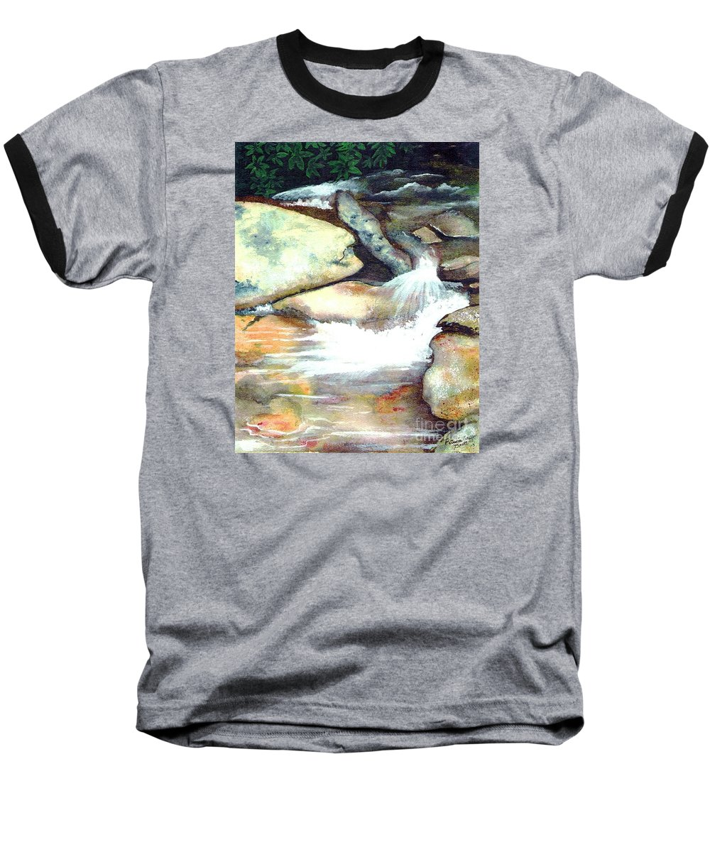Fine Art Baseball T-Shirt featuring the painting Smoky Mountains Waterfall by Patricia Griffin Brett