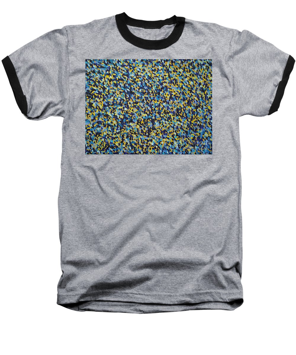 Abstract Baseball T-Shirt featuring the painting Soft Blue With Yellow by Dean Triolo