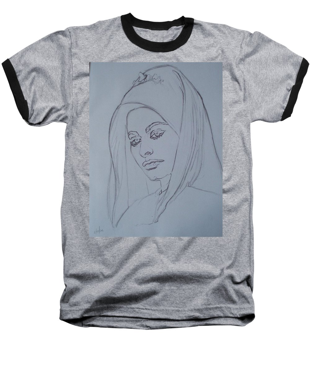 Woman Baseball T-Shirt featuring the drawing Sophia Loren In Headdress by Sean Connolly
