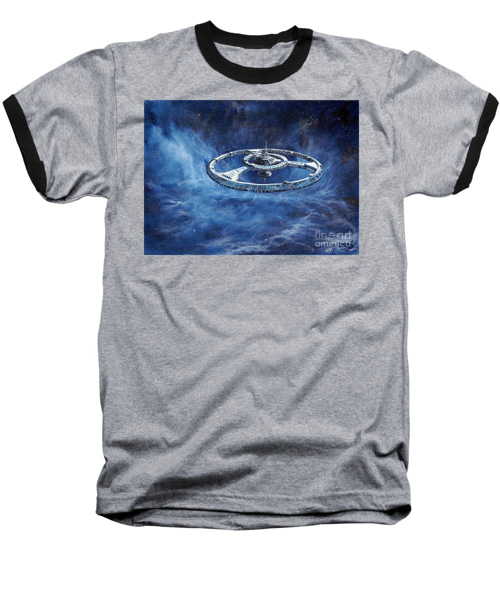 Sci-fi Baseball T-Shirt featuring the painting Deep Space Eight Station Of The Future by Murphy Elliott