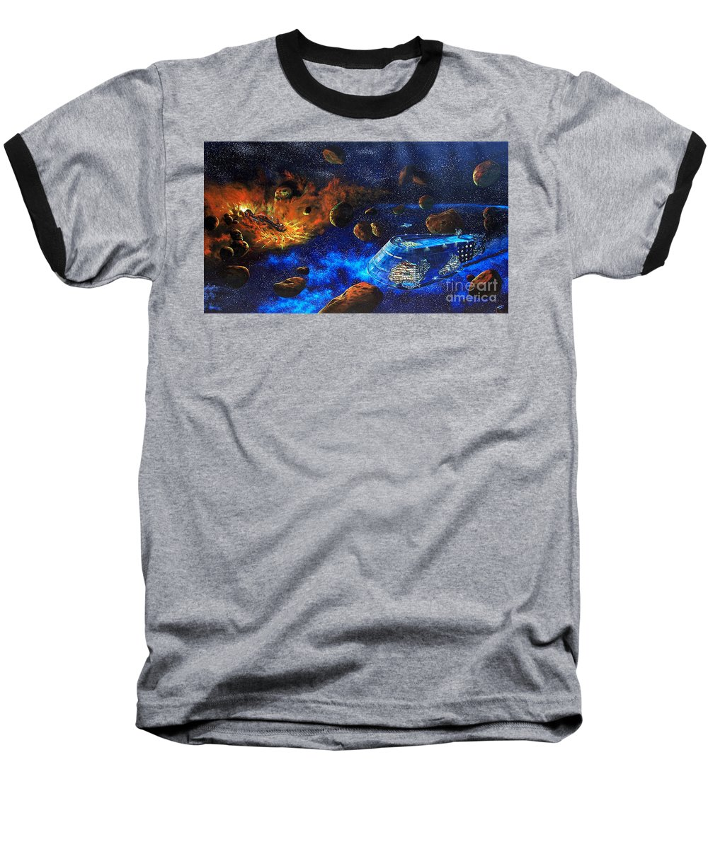 Future Baseball T-Shirt featuring the painting Spaceship Titanic by Murphy Elliott