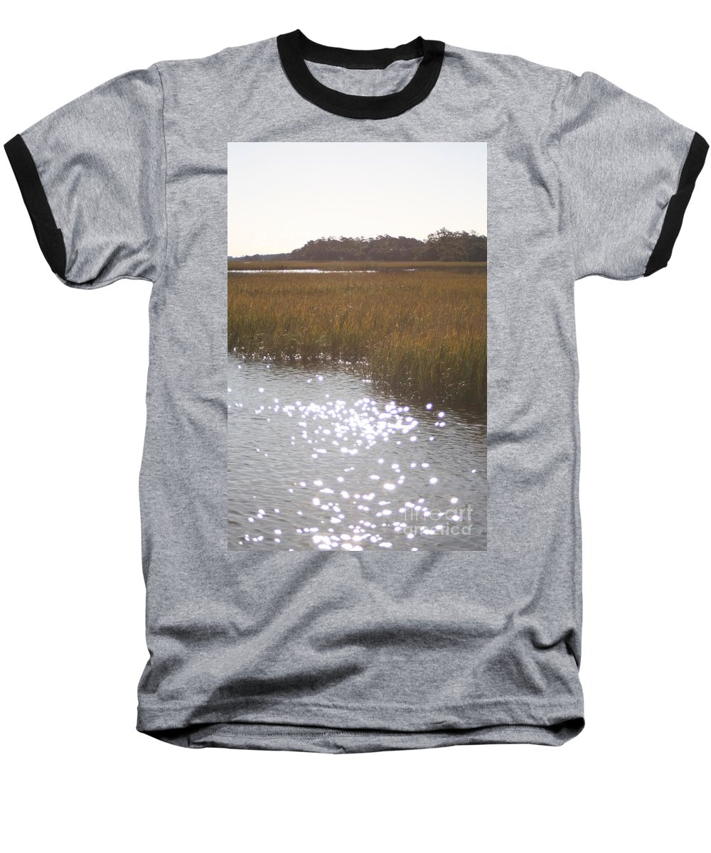 Marsh Baseball T-Shirt featuring the photograph Sparkling Marsh by Nadine Rippelmeyer