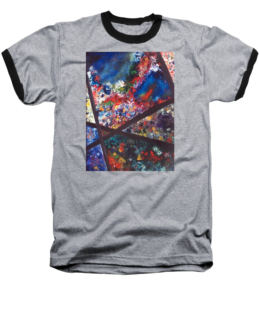 Abstract Baseball T-Shirt featuring the painting Spectral Chaos by Micah Guenther