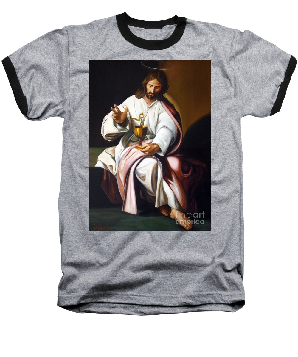 Classic Art Baseball T-Shirt featuring the painting St John The Evangelist by Silvana Abel