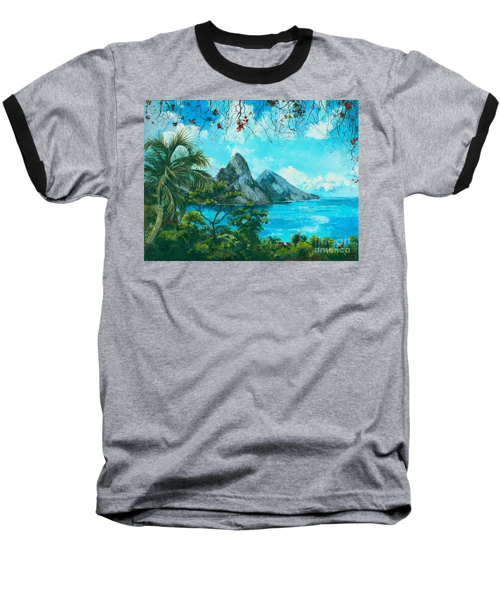 Mountains Baseball T-Shirt featuring the painting St. Lucia - W. Indies by Elisabeta Hermann