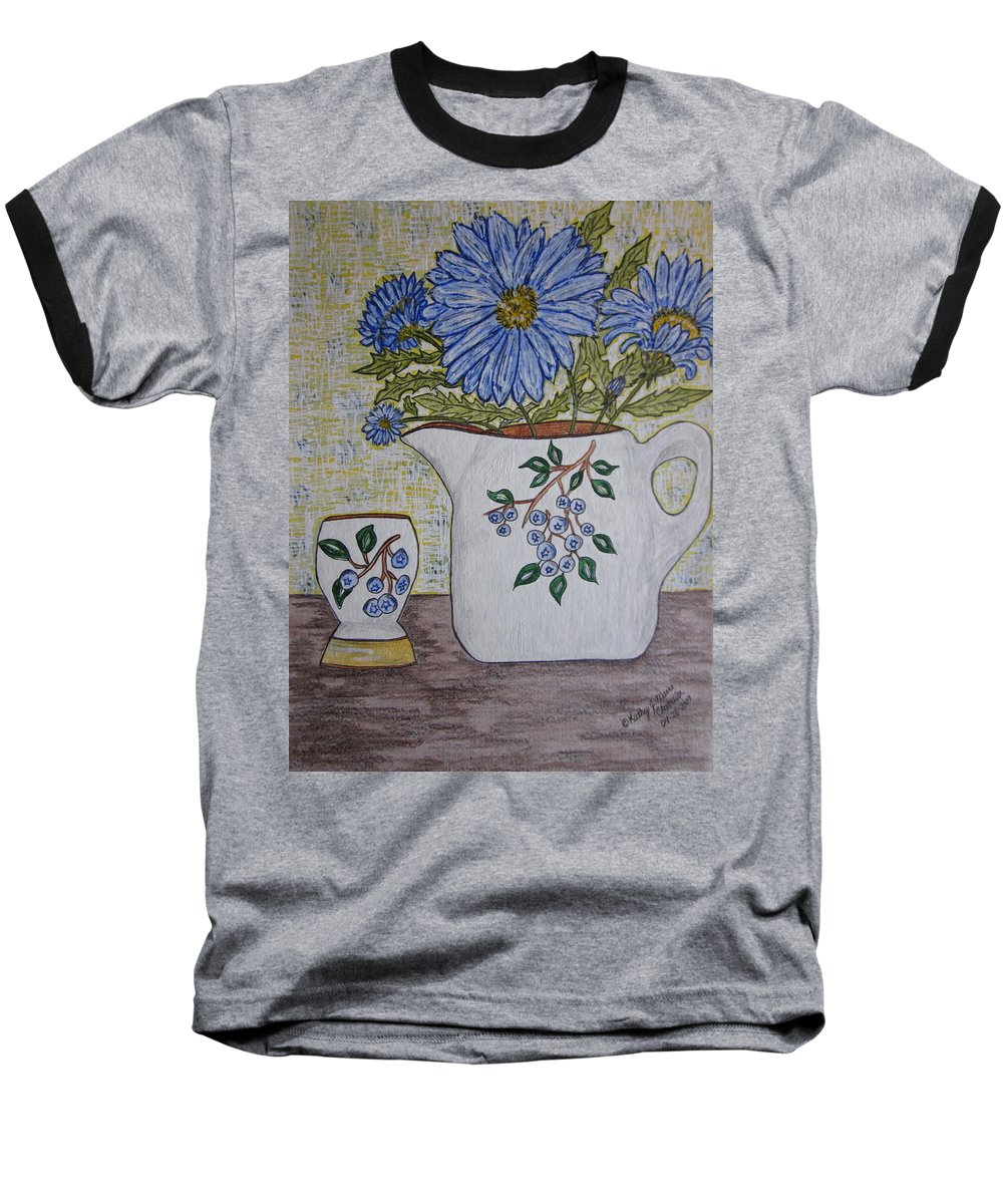 Stangl Blueberry Pottery Baseball T-Shirt featuring the painting Stangl Blueberry Pottery by Kathy Marrs Chandler