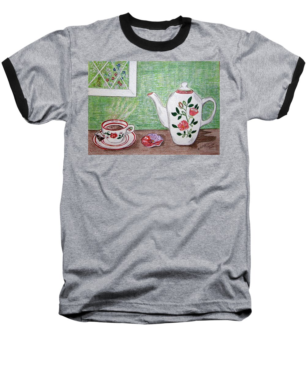 Stangl Pottery Baseball T-Shirt featuring the painting Stangl Pottery Rose Pattern by Kathy Marrs Chandler