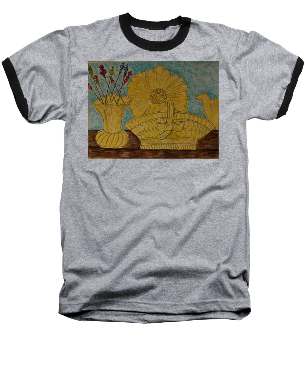 Stangl Pottery Baseball T-Shirt featuring the painting Stangl Pottery Satin Yellow Pattern And Vintage Hat Pins by Kathy Marrs Chandler